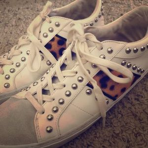 Zara Cheetah Print Studded Sneakers